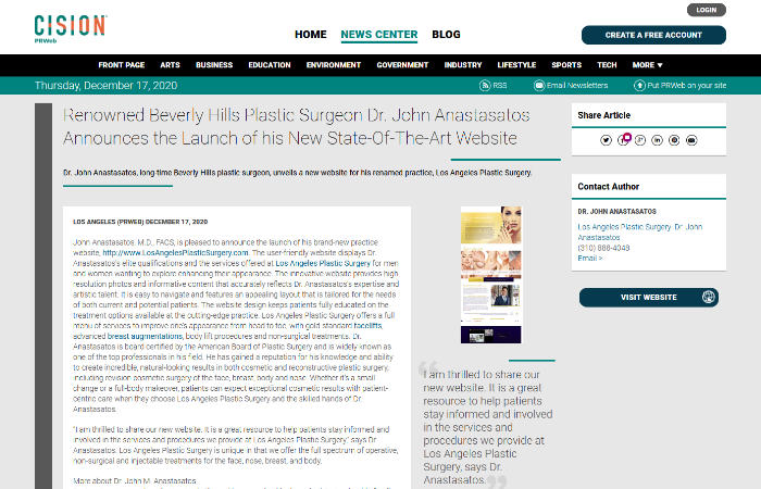 screenshot of the linked article titled ' Renowned Beverly Hills Plastic Surgeon Dr. John Anastasatos Announces the Launch of his New State-Of-The-Art Website'