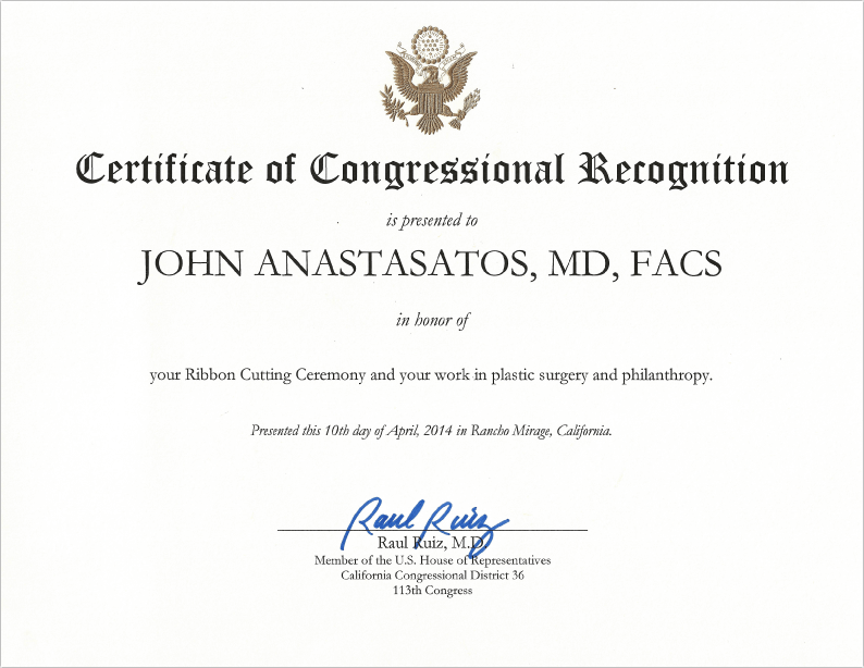 Certificate United States Congress