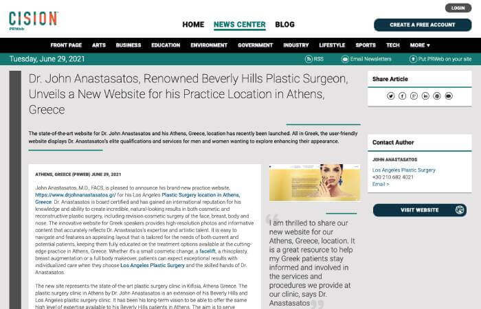 Screenshot of an article titled: Dr. John Anastasatos, Renowned Beverly Hills Plastic Surgeon, Unveils a New Website for his Practice Location in Athens, Greece